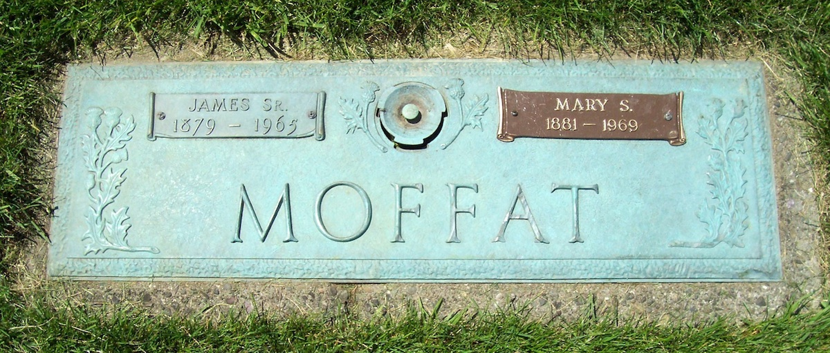 Headstone for James and Mary Moffat