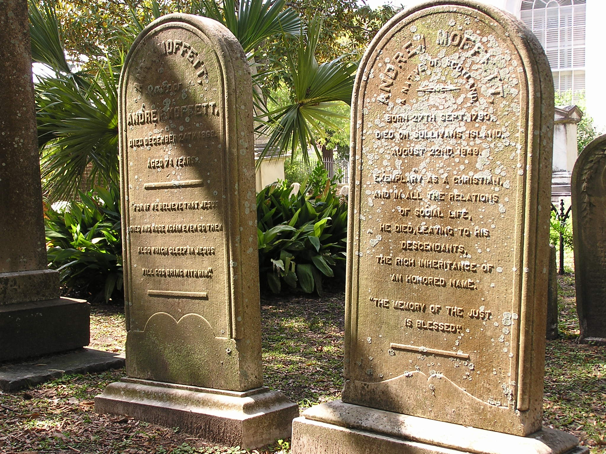 Andrew Moffat and Anna Reid Headstones in the 2nd Presbyterian Church, Charleston, South Carolina, USA
