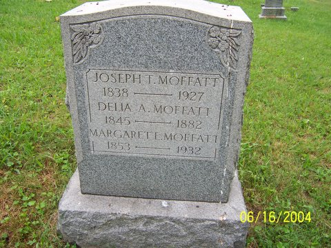 Headstone of Joseph Thomas Moffatt and wives Delia A. (Davis) Moffatt and Margaret Emeretta (Smith) Moffatt.