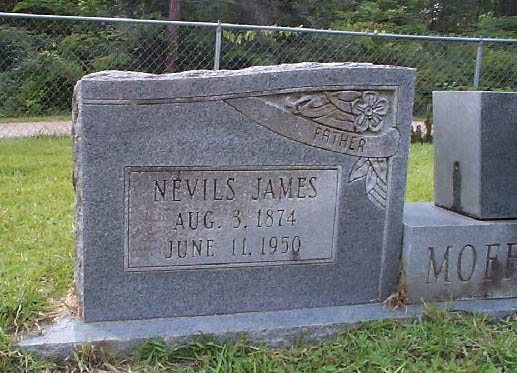 Headstone for Nevils James Moffett