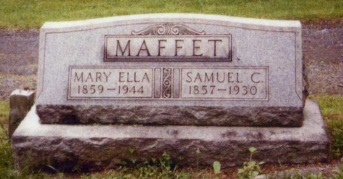 Headstone for Samuel C Maffet and his wife Mary Ella Lomison