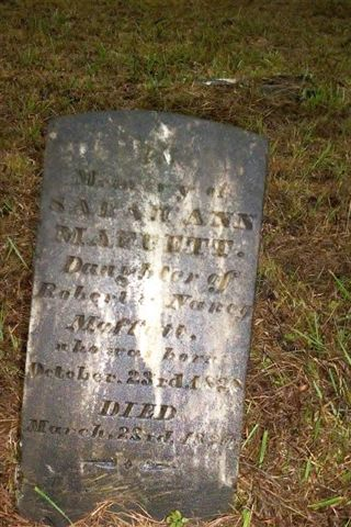 Headstone for Sarah Ann Maffett