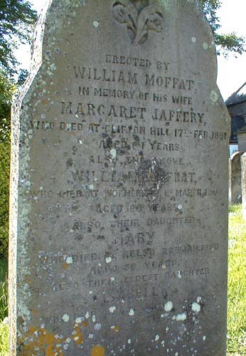 Headstone of William Moffat and Margaret Jaffery and Family