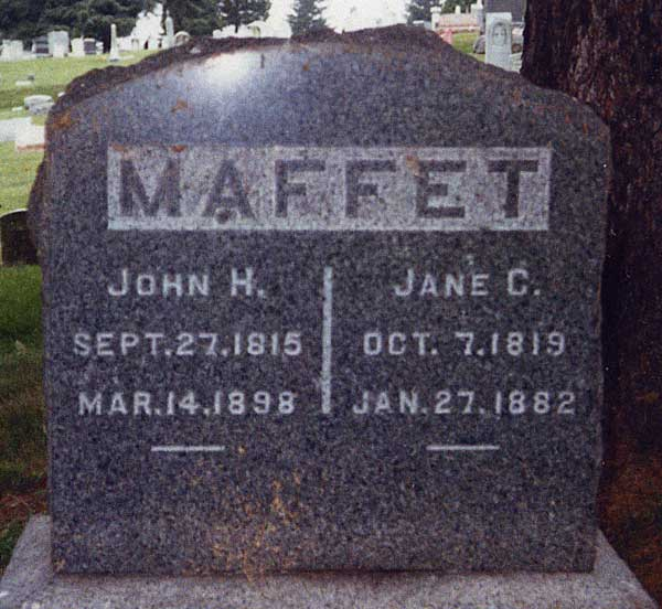 Headstone for John Hill Maffet and his wife Jane Culp