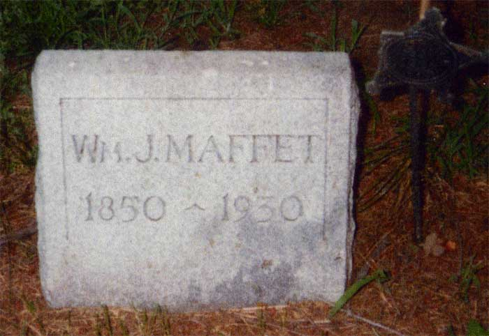 Headstone for William J Maffet