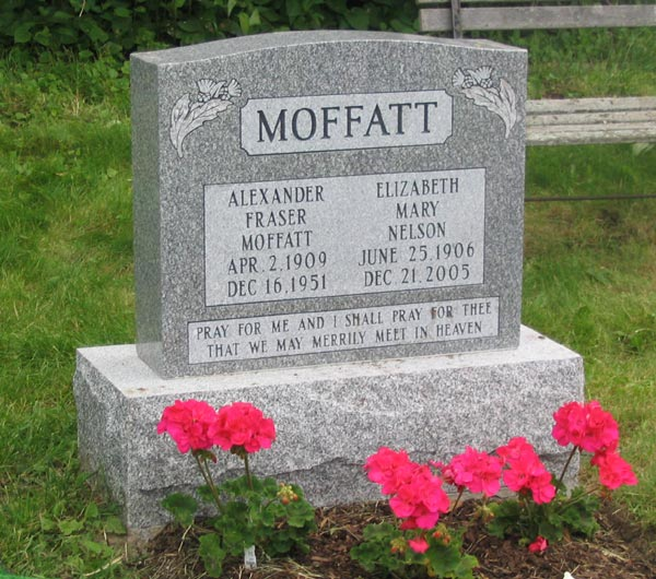 Headstone for Alexander Fraser Moffatt and Elizabeth Mary Nelson