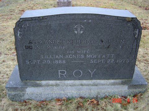Headstone of Alexander Kerr Roy and Lillian Agnes Moffatt