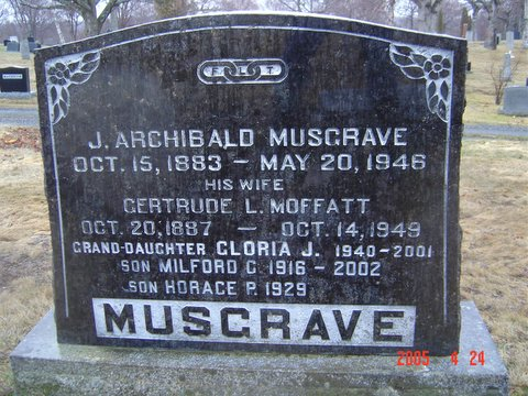 Headstone of J Archie Musgrave and Gertrude L Moffatt