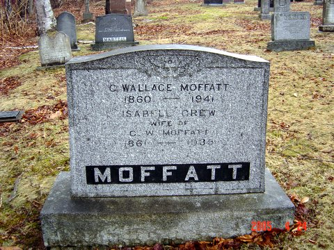 Headstone of C Wallace Moffatt and Isabell Crew(e)