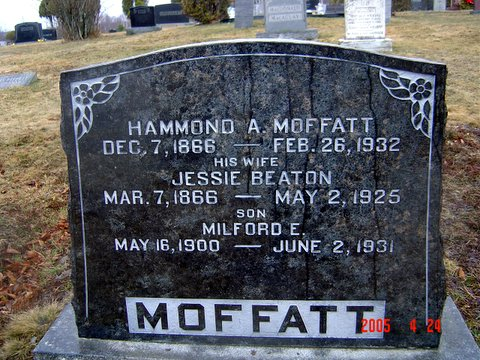 Headstone of Hammond A Moffatt, his wife Jessie Beaton, and one of their sons, Milford E Moffatt