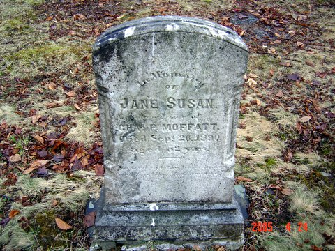 Headstone of Jane Susan - wife of Chas P Moffatt