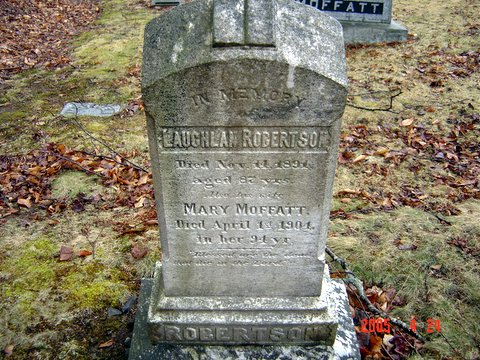 Headstone of Lauglin Robertson and his wife Mary Moffatt