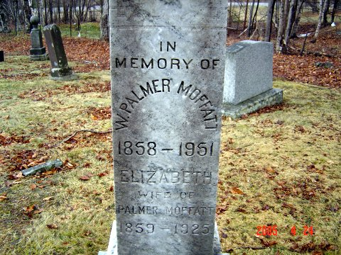 Headstone of W Palmer Moffat and his wife Elizabeth