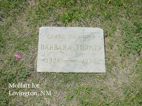 Headstone for Barbara Rose Turner