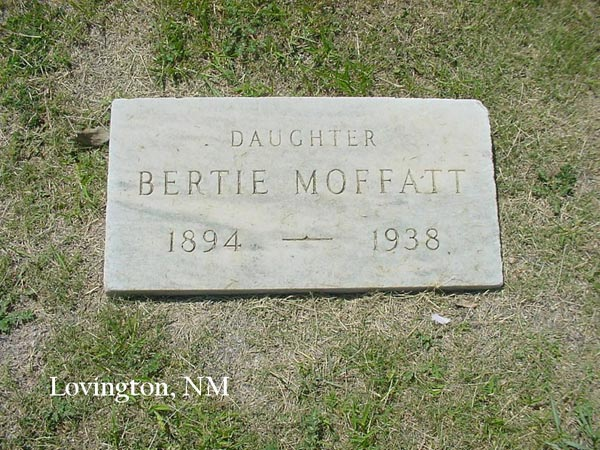 "Headstone for Bertha Annabelle ""Bertie"" Moffatt"