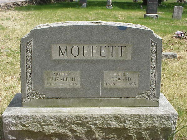 Headstone of Edward Moffett and his wife Mary Elizabeth Allen