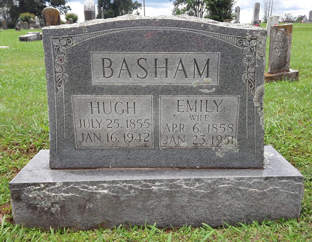 Headstone of Hugh and Emily Basham