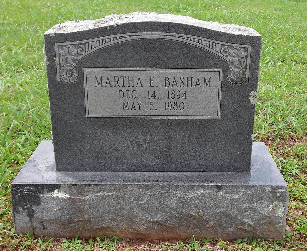 Headstone of Martha E Basham
