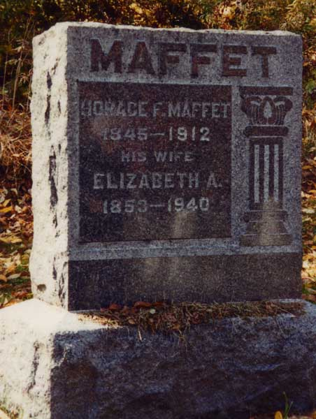 Headstone of Horace Fulton Maffet and his wife Elizabeth Boalich