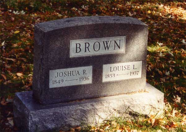 Headstone for Joshua Brown and his wife Louise Layman Maffet