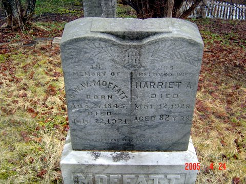 Headstone of Charles W W Moffatt and his wife Harriet A
