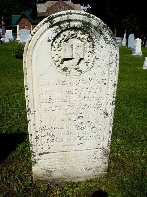 Headstone of Wm H Moffatt and James Andrew Moffatt