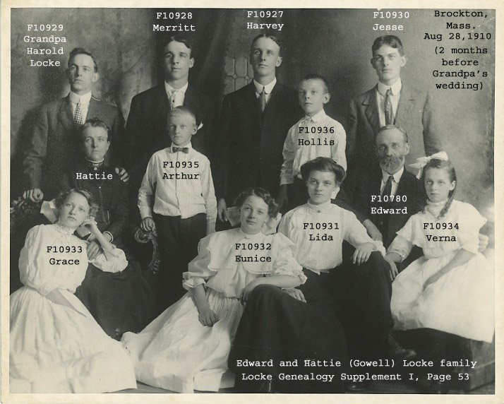 Harold Locke and his parents and siblings
